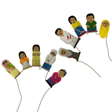 King Dam Felt Finger Puppets - Asian Families and Friends