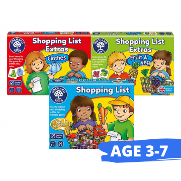 Orchard Toys Matching and Memory Game - Shopping List, Shopping List Extras (Clothes), Shopping List (Veg and Fruit) Bundle