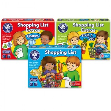 Orchard Toys - Shopping List, Shopping List Extras (Clothes), Shopping List (Veg and Fruit) Bundle