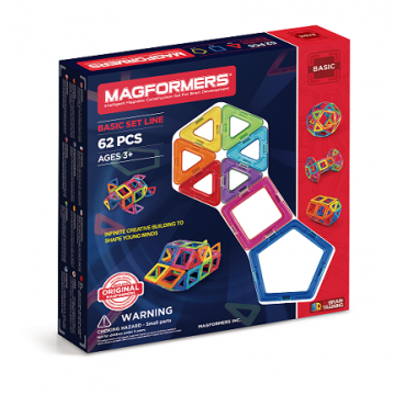Magformers - Basic Set Line (62 pcs), magnetic