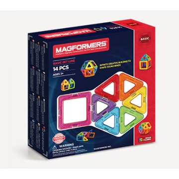 Magformers - Basic Set Line (14 pcs), magnetic